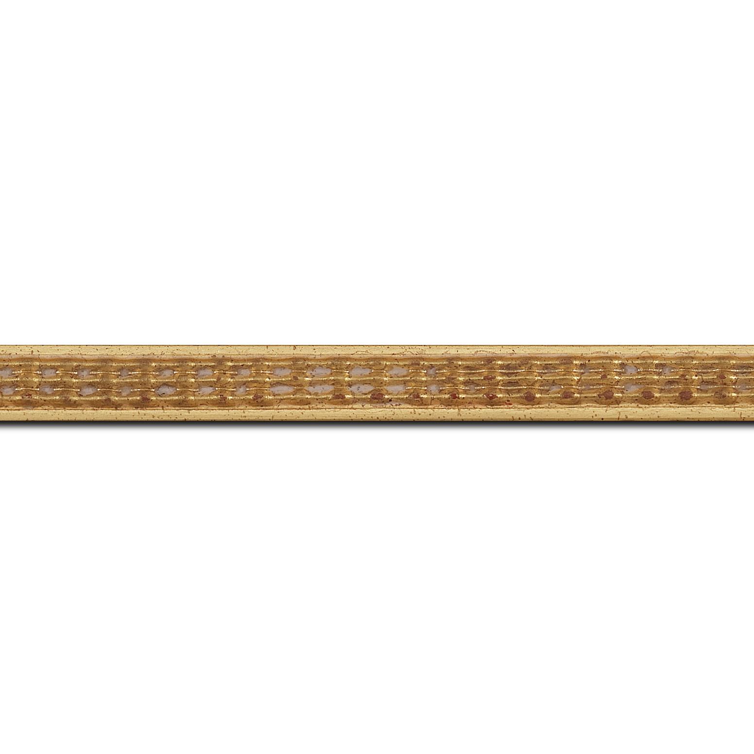 Pack par 12m, bois profil jonc largeur 1.5cm or style décor sillons(longueur baguette pouvant varier entre 2.40m et 3m selon arrivage des bois)