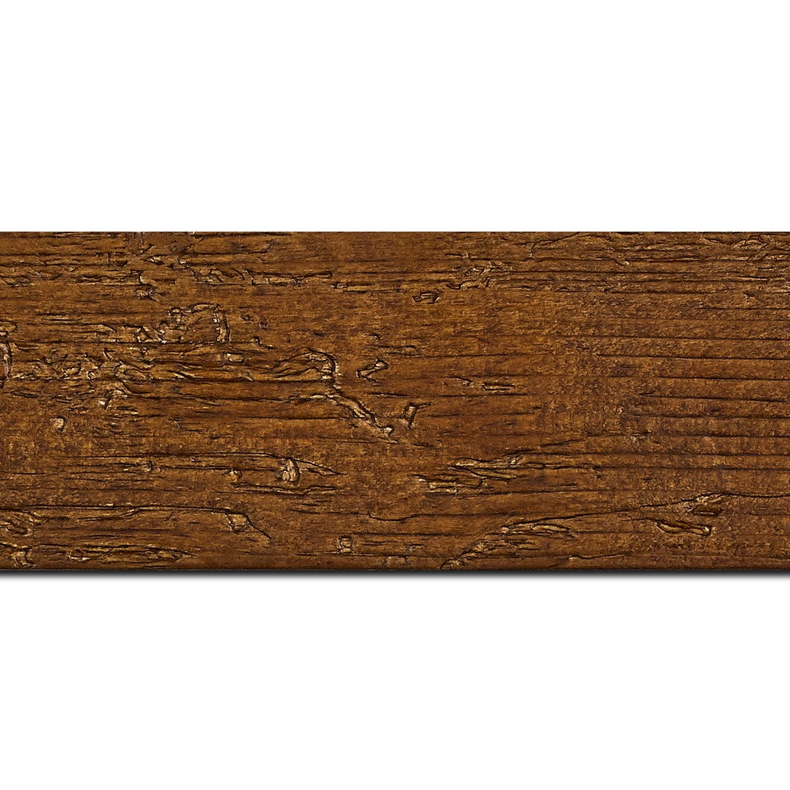 Baguette longueur 1.40m bois profil plat largeur 6.7cm couleur marron foncé finition aspect vieilli antique