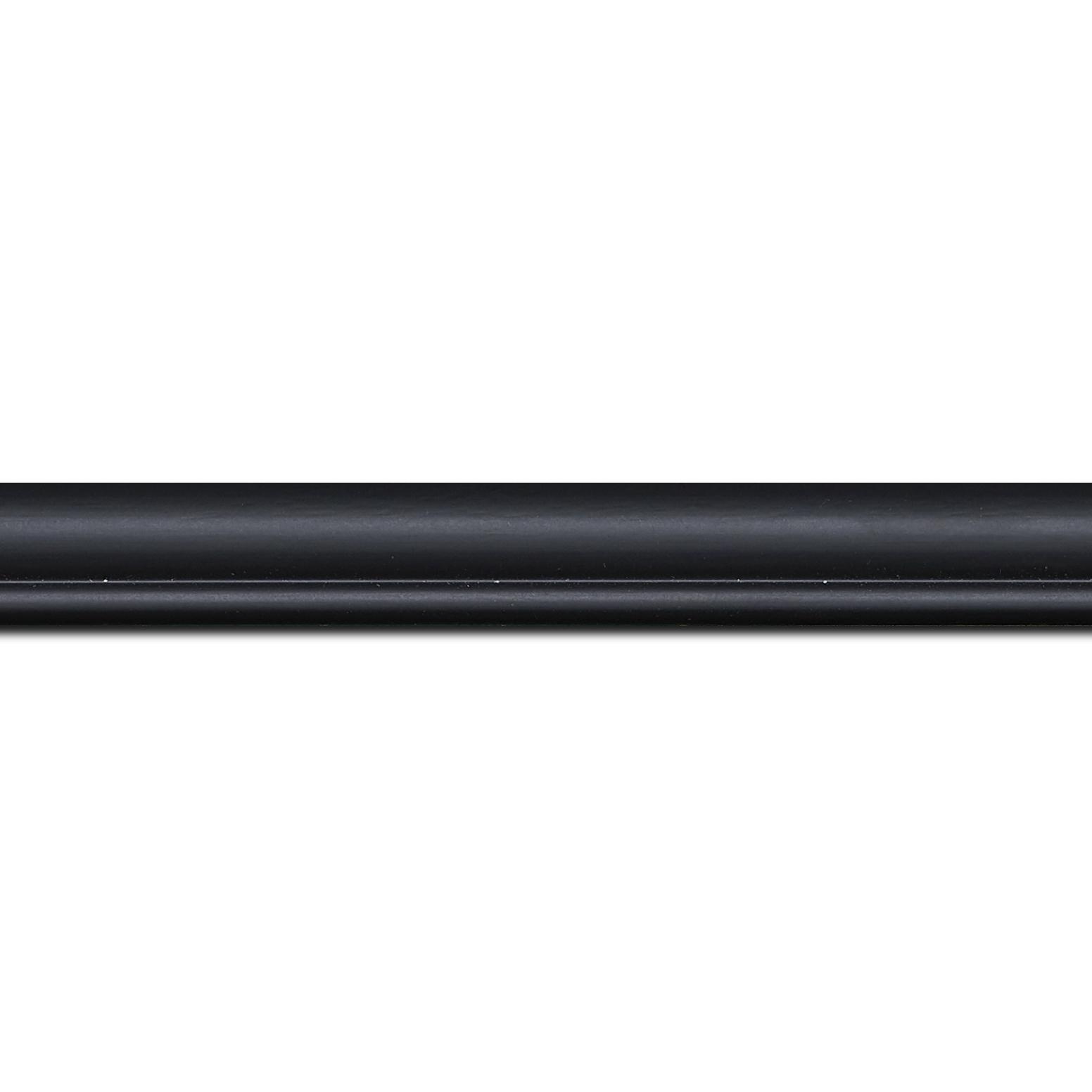 Baguette longueur 1.40m bois profil arrondi largeur 2.1cm couleur noir mat filet noir