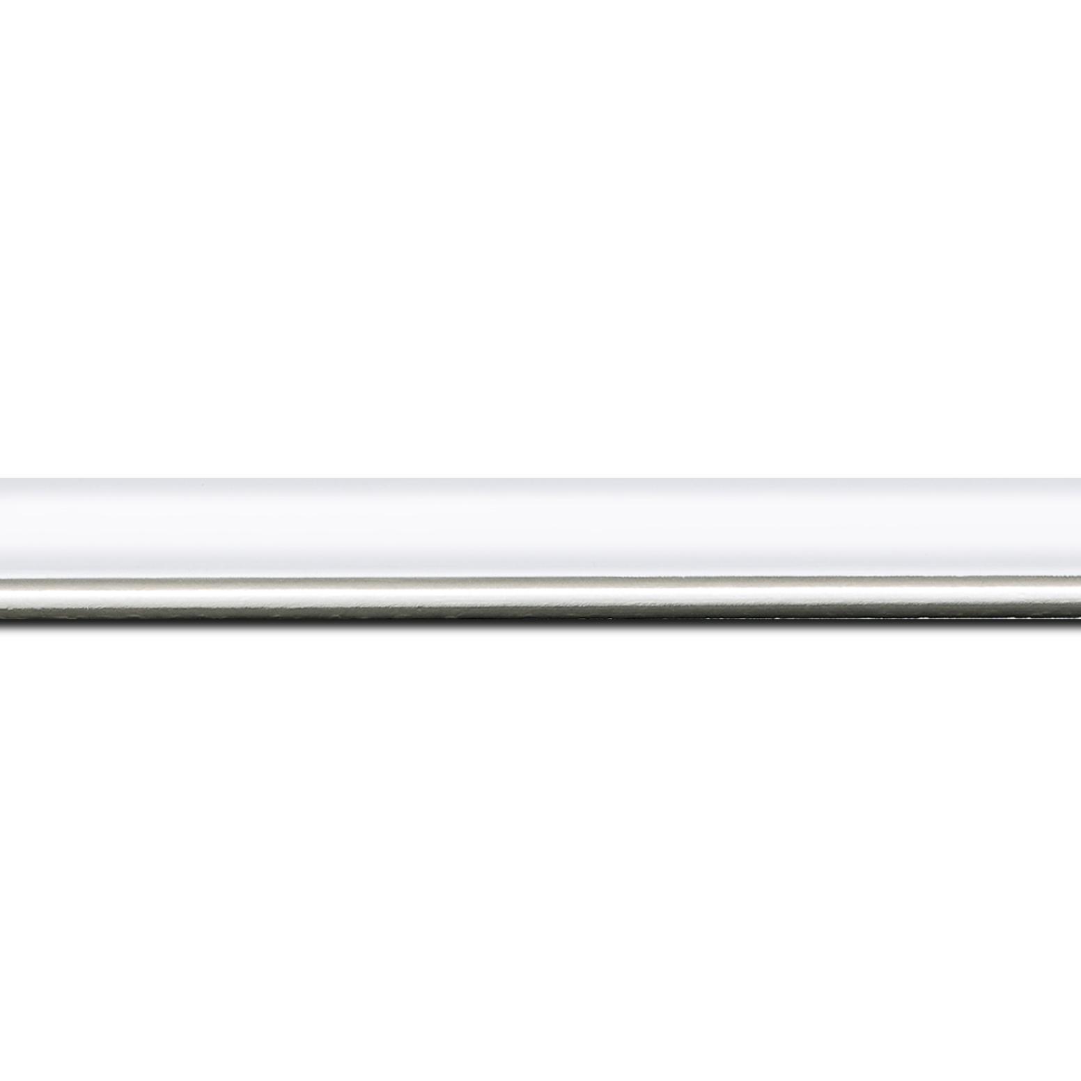 Baguette longueur 1.40m bois profil arrondi largeur 2.1cm couleur blanc mat filet argent