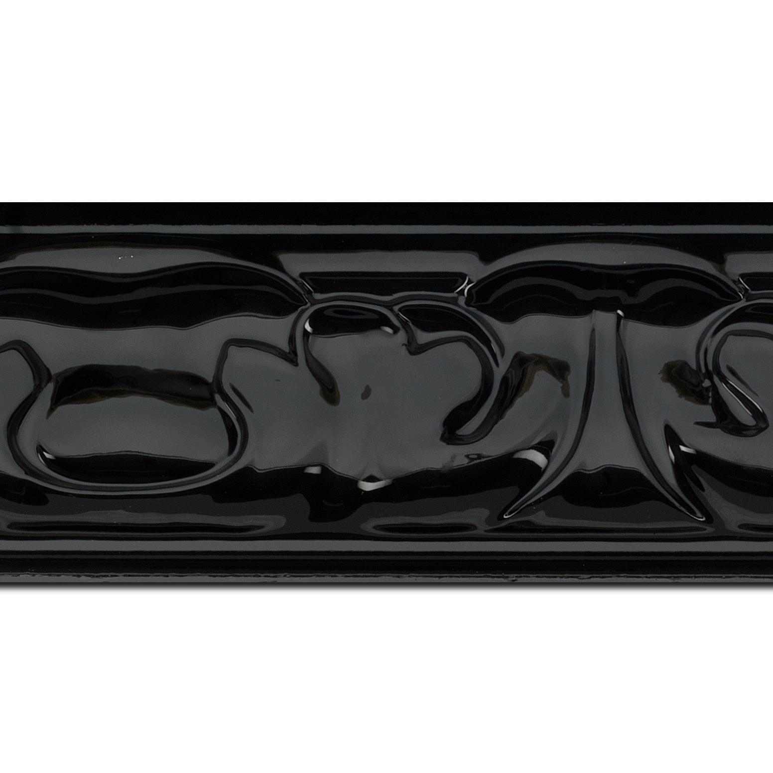 Baguette longueur 1.40m bois profil doucine largeur 7.8cm couleur noir brillant style baroque