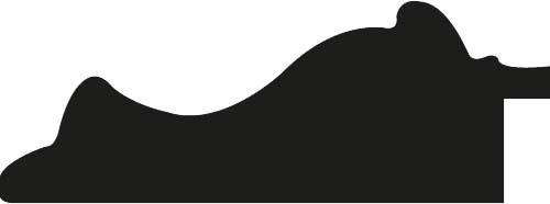 Baguette coupe droite bois profil doucine largeur 7.8cm or patiné nez couleur ébène