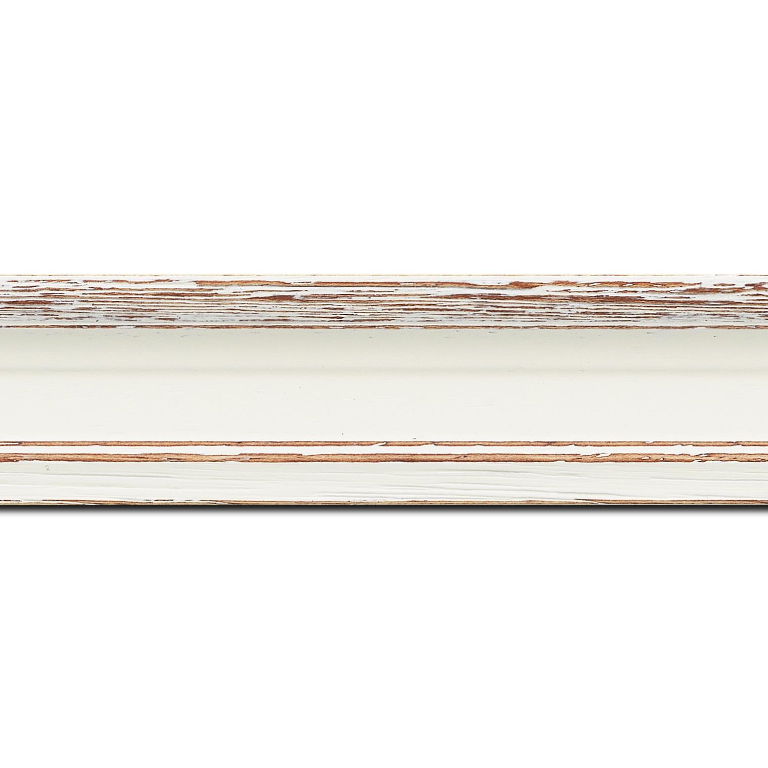 Baguette longueur 1.40m bois profil braque largeur 4.5cm couleur blanchie