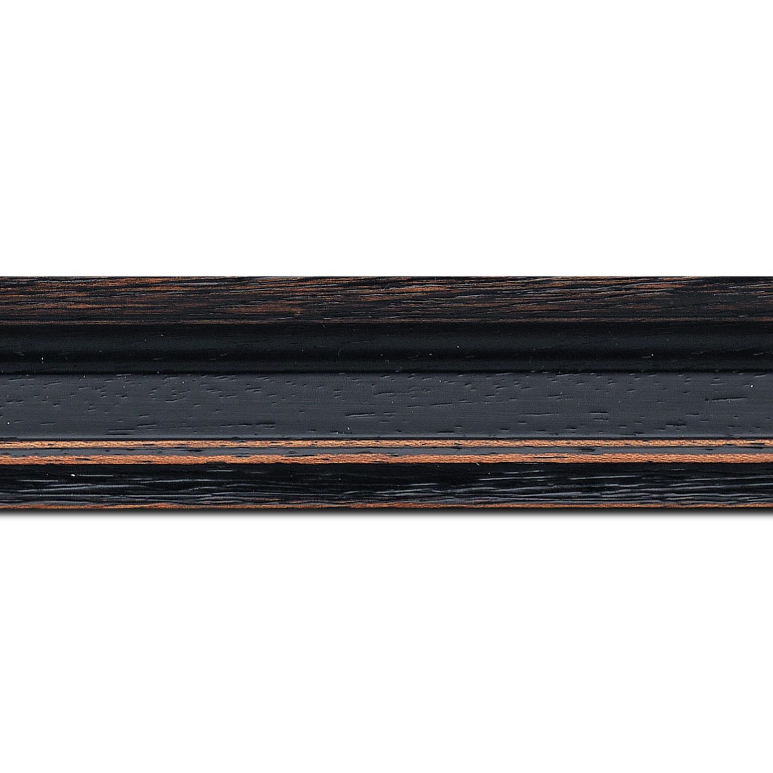 Pack par 12m, bois profil braque largeur 4.5cm couleur noir antique(longueur baguette pouvant varier entre 2.40m et 3m selon arrivage des bois)
