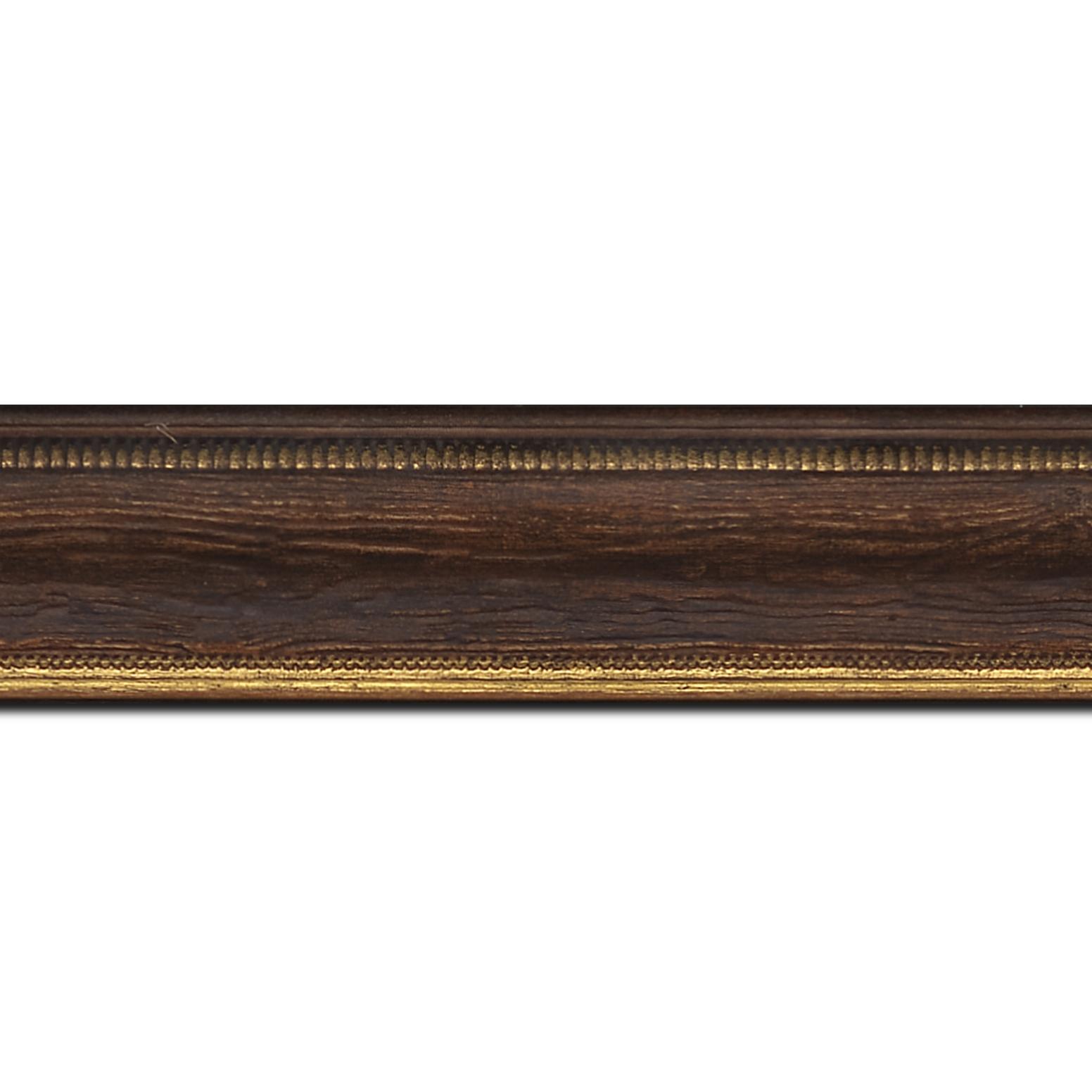 Pack par 12m, bois incurvé profil incurvé largeur 4.1cm couleur marron foncé aspect veiné liseret or (longueur baguette pouvant varier entre 2.40m et 3m selon arrivage des bois)