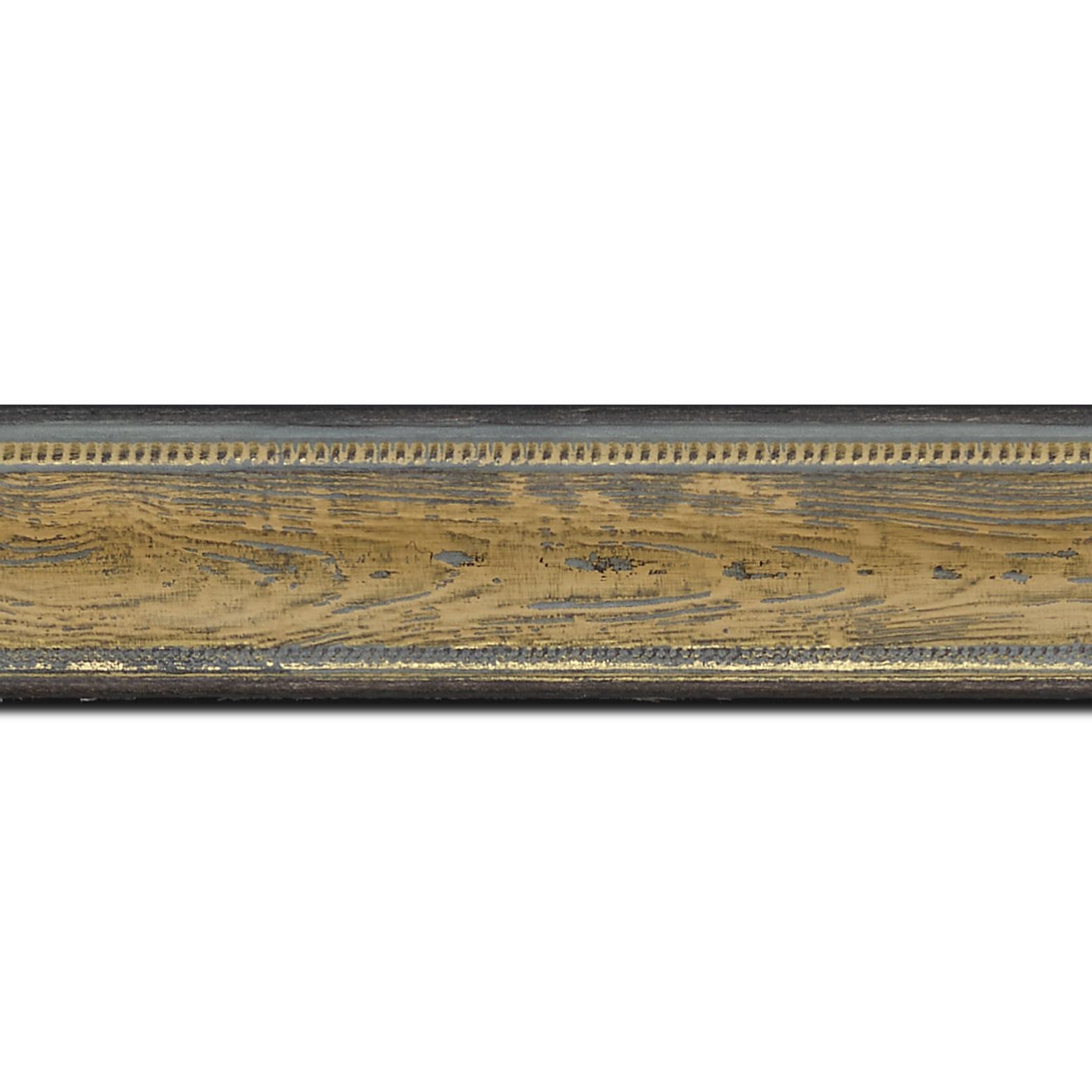 Pack par 12m, bois incurvé profil incurvé largeur 4.1cm couleur vert sur naturel aspect veiné liseret or (longueur baguette pouvant varier entre 2.40m et 3m selon arrivage des bois)