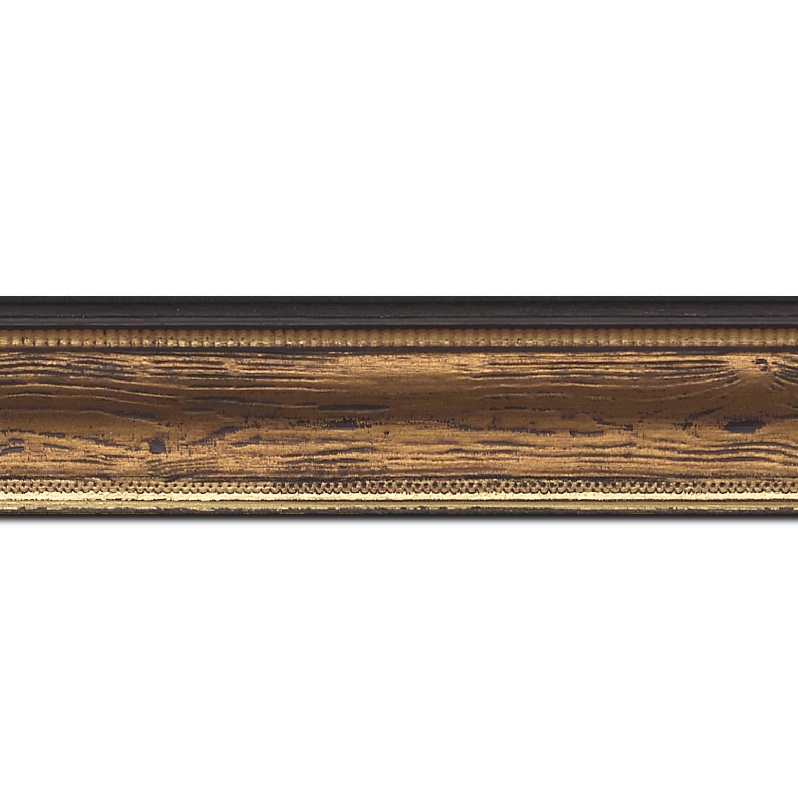 Pack par 12m, bois incurvé profil incurvé largeur 4.1cm couleur marron cuivré  aspect veiné liseret or (longueur baguette pouvant varier entre 2.40m et 3m selon arrivage des bois)
