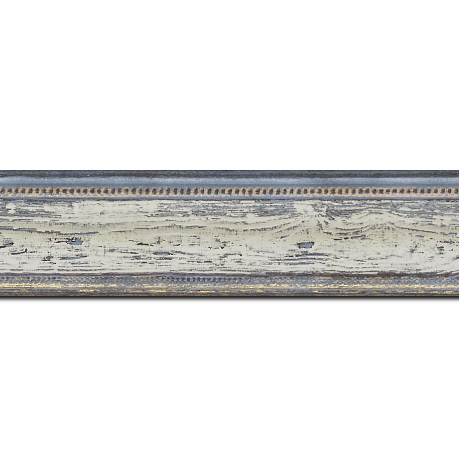Baguette longueur 1.40m bois incurvé profil incurvé largeur 4.1cm couleur bleu blanchie aspect veiné liseret or