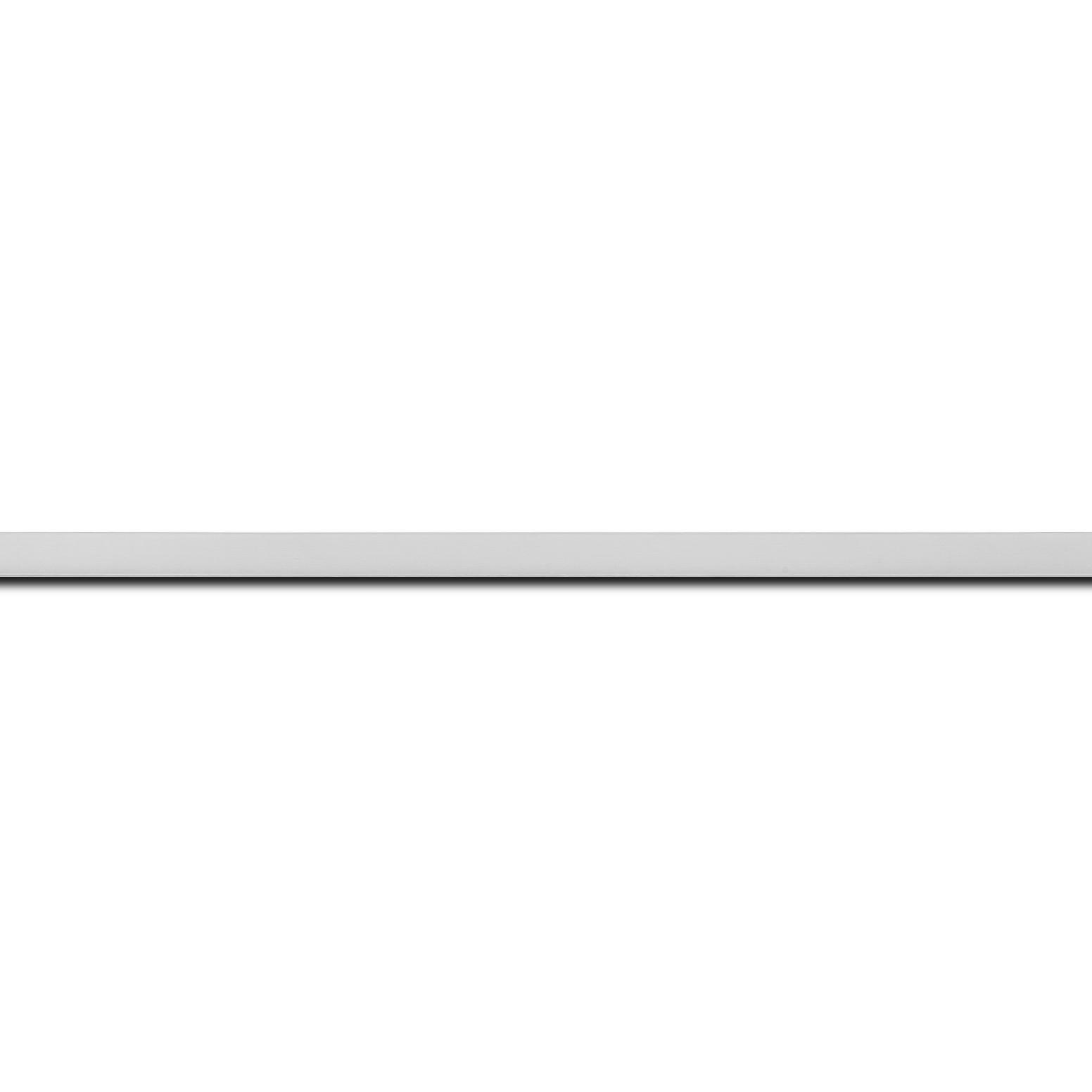 Baguette longueur 1.40m bois recouvert aluminium profil plat largeur 2.5cm argent brossé bord droit