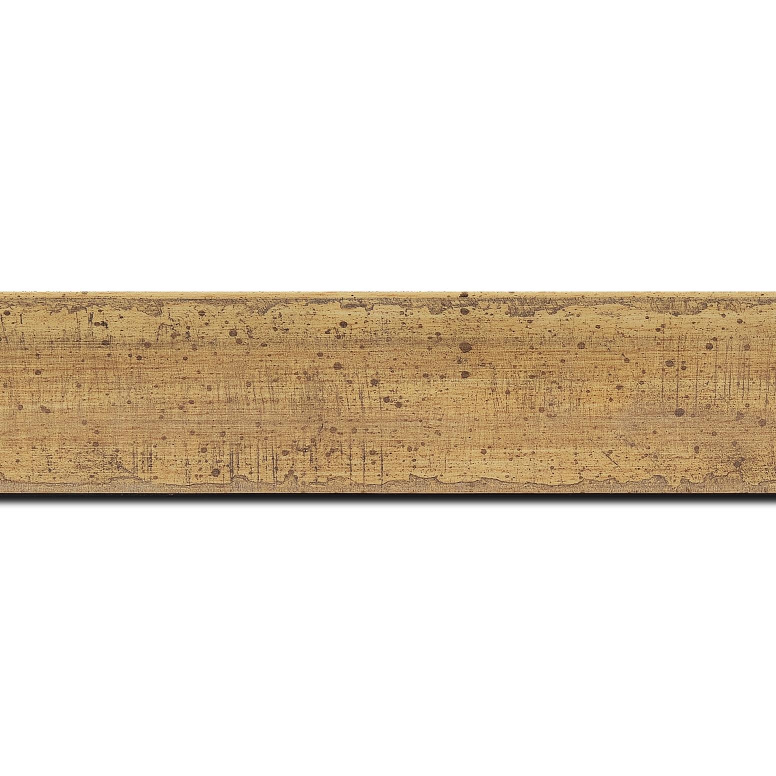 Baguette longueur 1.40m bois profil incurvé largeur 4.1cm couleur marron tres clair  effet plaquage