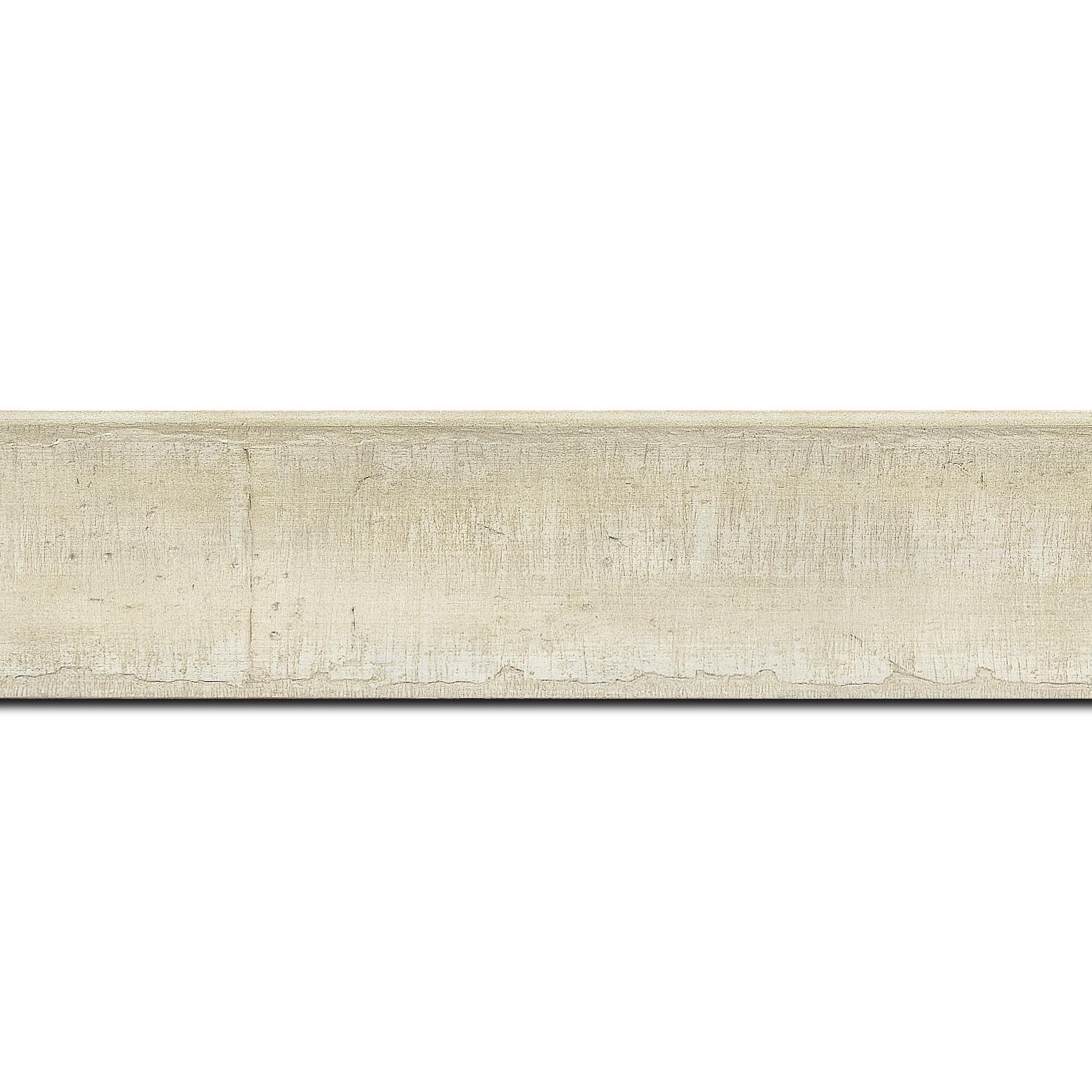 Baguette longueur 1.40m bois profil incurvé largeur 4.1cm couleur crème effet plaquage