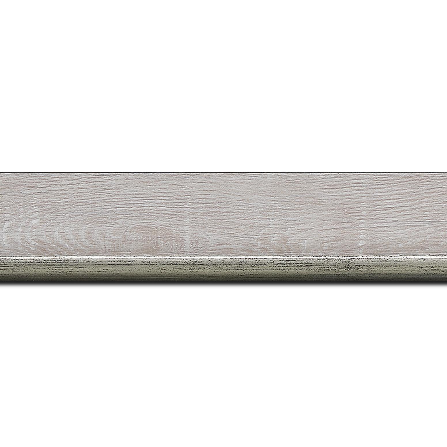 Baguette longueur 1.40m bois profil plat en pente largeur 3.5cm de couleur ton bois veiné teinté gris filet argent chaud