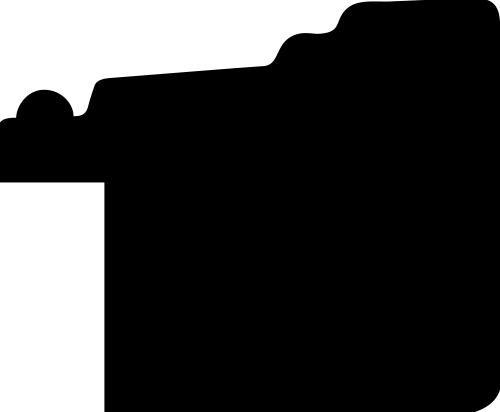 Baguette coupe droite bois profil plat en étage  largeur 2.2cm couleur noir ébène filet perle
