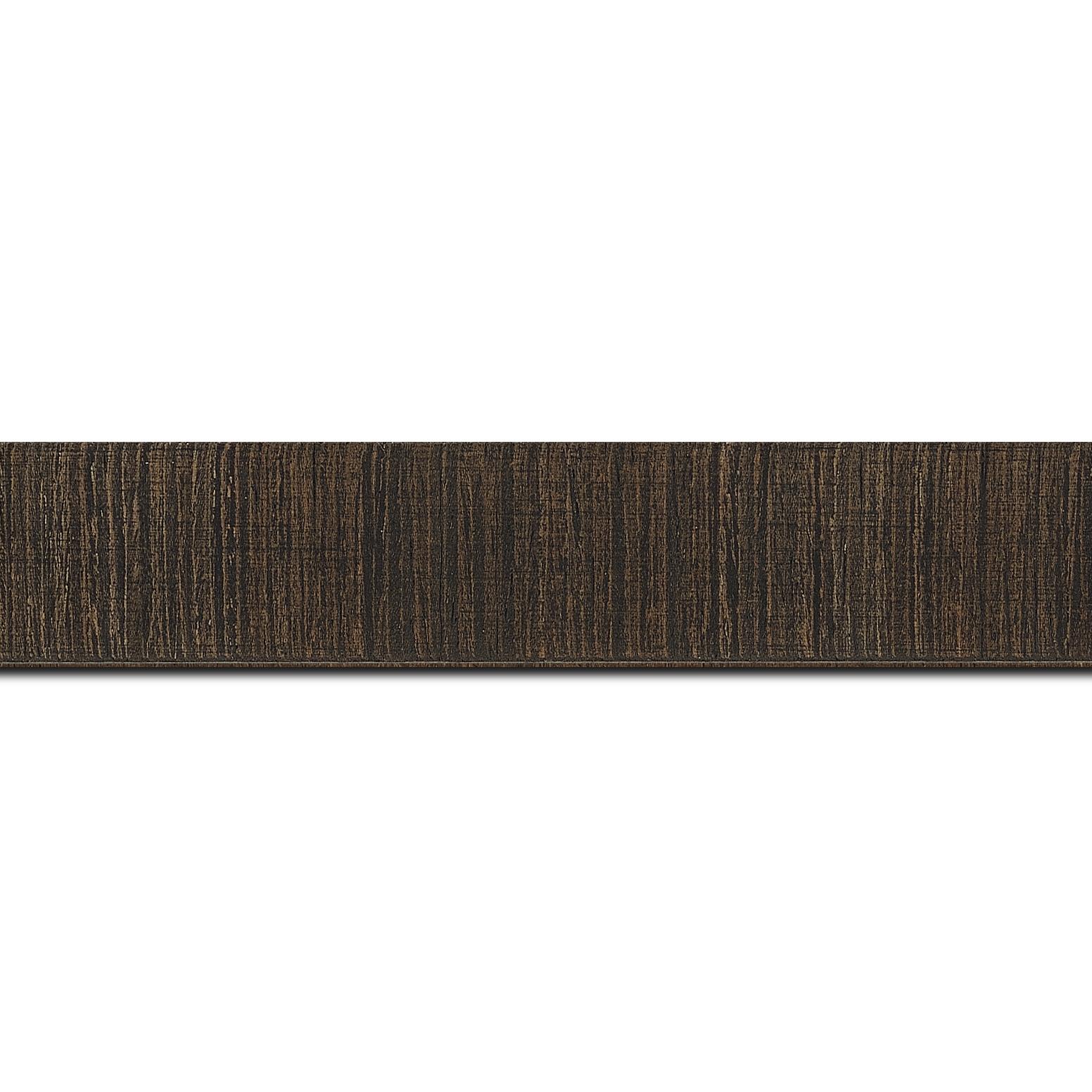 Pack par 12m, bois profil incurvé largeur 2.8cm plaquage haut de gamme teck noirci(longueur baguette pouvant varier entre 2.40m et 3m selon arrivage des bois)