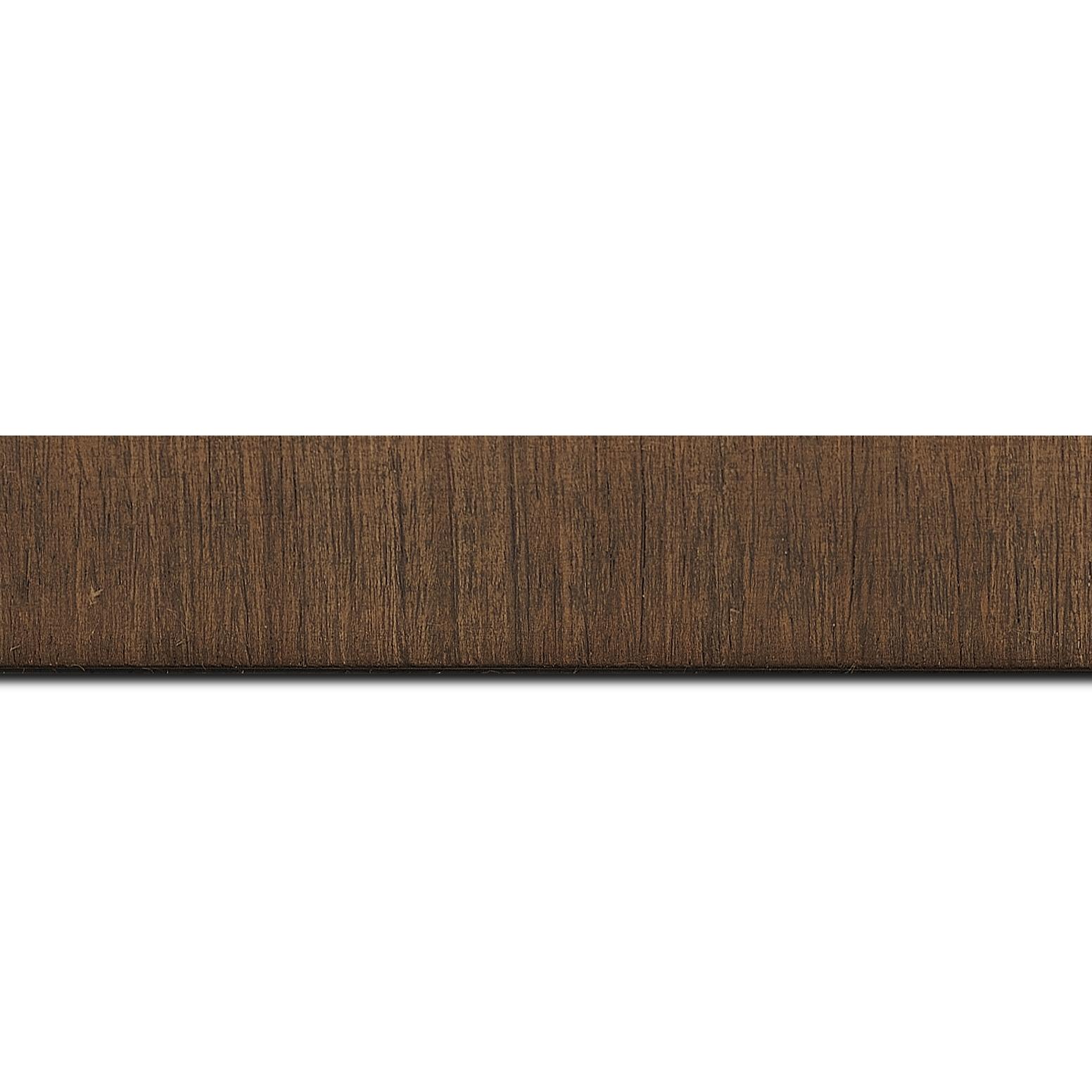Pack par 12m, bois profil incurvé largeur 2.8cm plaquage haut de gamme teck teinté noyer (longueur baguette pouvant varier entre 2.40m et 3m selon arrivage des bois)