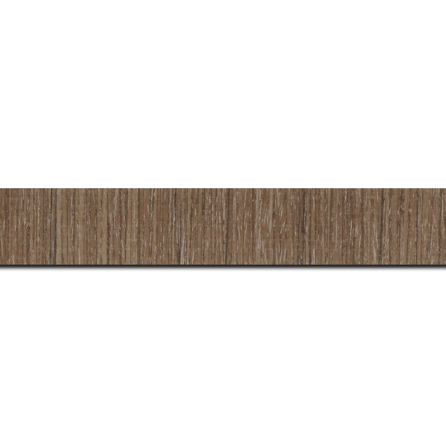 Baguette longueur 1.40m bois profil incurvé largeur 2.8cm plaquage haut de gamme teck blanchi