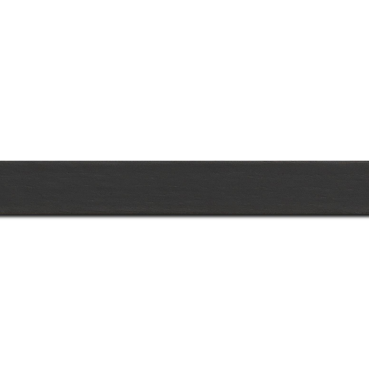 Pack par 12m, bois profil plat largeur 2.5cm plaquage haut de gamme chêne teinté noir(longueur baguette pouvant varier entre 2.40m et 3m selon arrivage des bois)