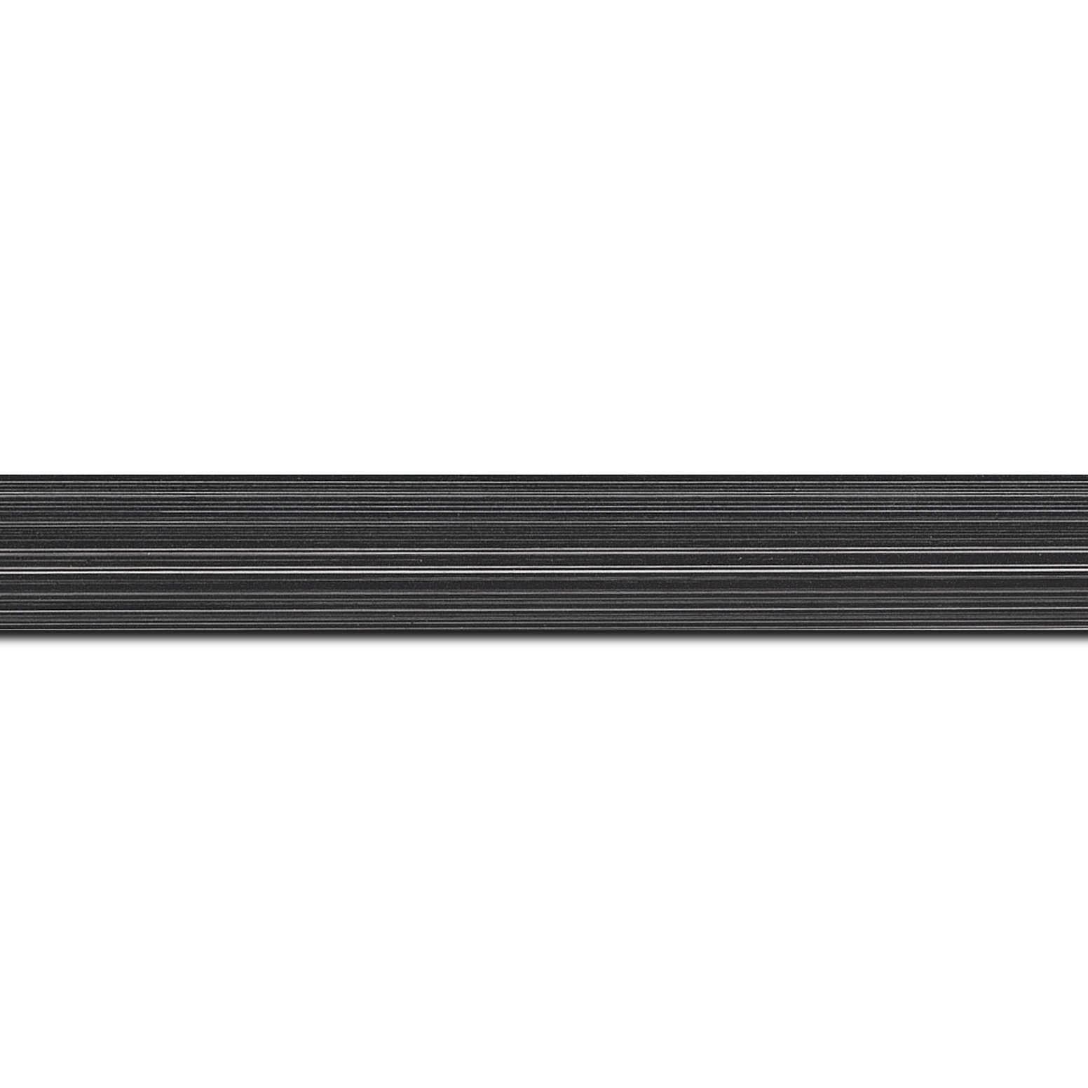 Baguette longueur 1.40m bois profil concave largeur 2.4cm couleur noir anthracite effet matière fond blanc