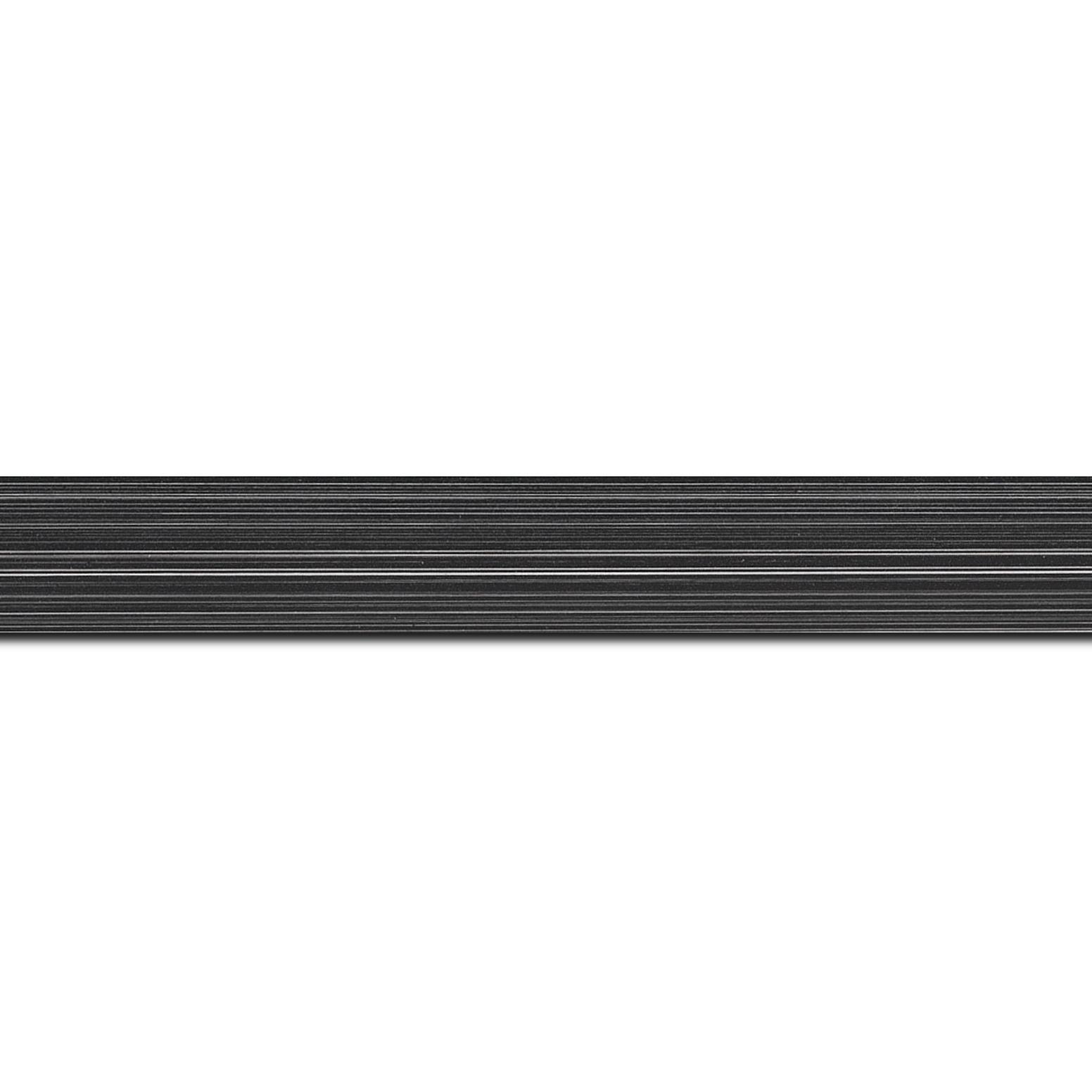 Pack par 12m, bois profil concave largeur 2.4cm couleur noir anthracite effet matière fond blanc (longueur baguette pouvant varier entre 2.40m et 3m selon arrivage des bois)