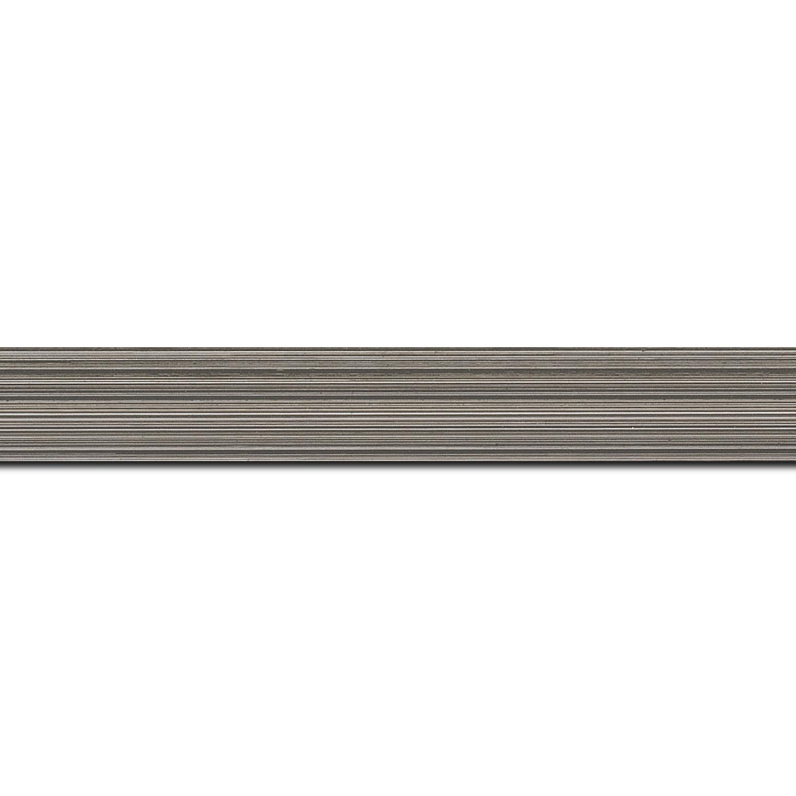 Pack par 12m, bois profil concave largeur 2.4cm couleur gris effet matière fond blanc  (longueur baguette pouvant varier entre 2.40m et 3m selon arrivage des bois)