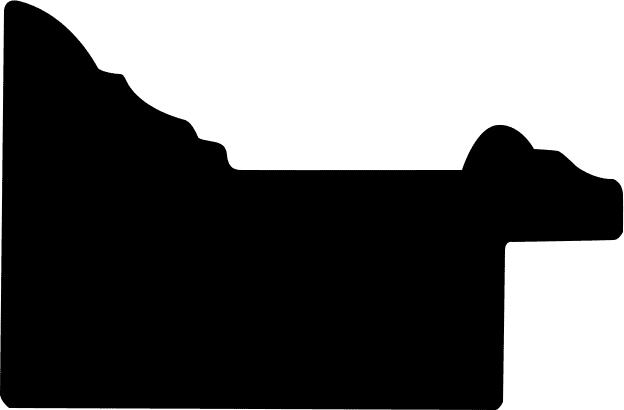 Baguette coupe droite bois profil braque largeur 5.2cm argent patiné gorge noire antique