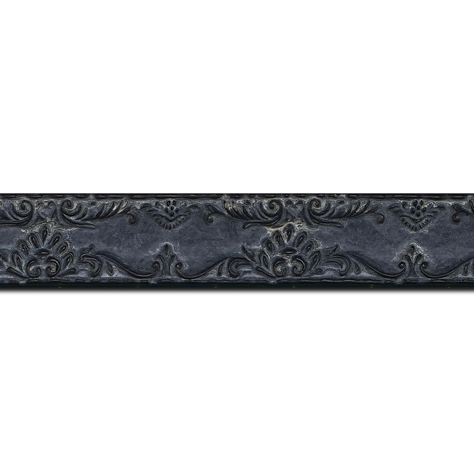 Baguette longueur 1.40m bois profil incurvé largeur 3cm couleur noir antique décor ancien