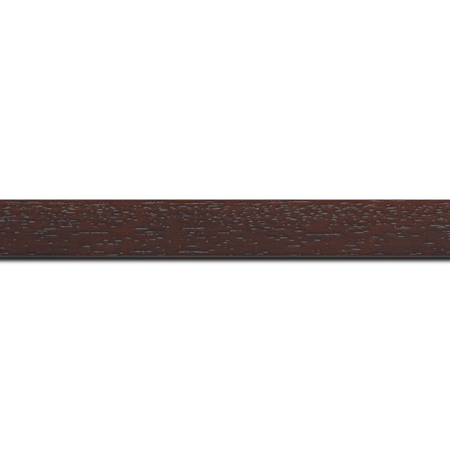 Pack par 12m, bois profil plat largeur 2cm hauteur 3.3cm marron foncé satiné (aussi appelé cache clou)(longueur baguette pouvant varier entre 2.40m et 3m selon arrivage des bois)