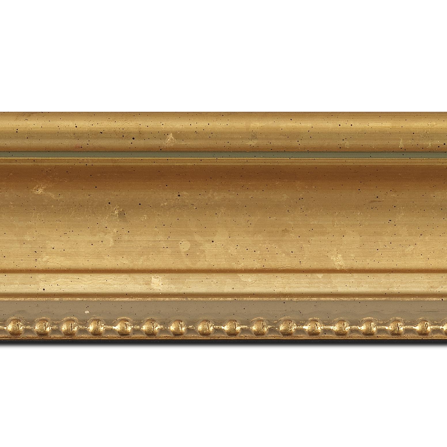 Baguette longueur 1.40m bois profil incurvé largeur 7.6cm or à la feuille filet perle