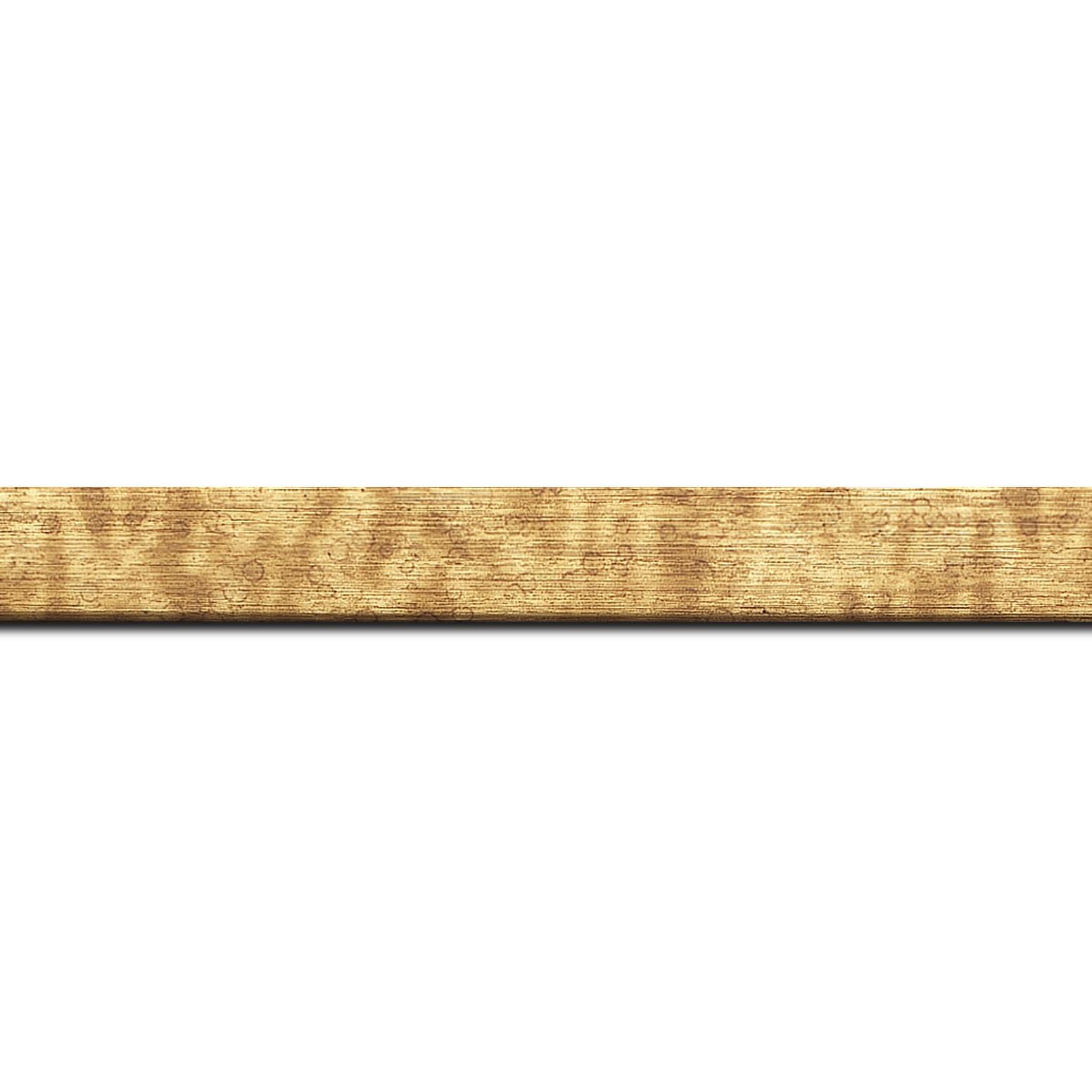 Baguette longueur 1.40m bois profil plat effet cube largeur 2cm couleur or