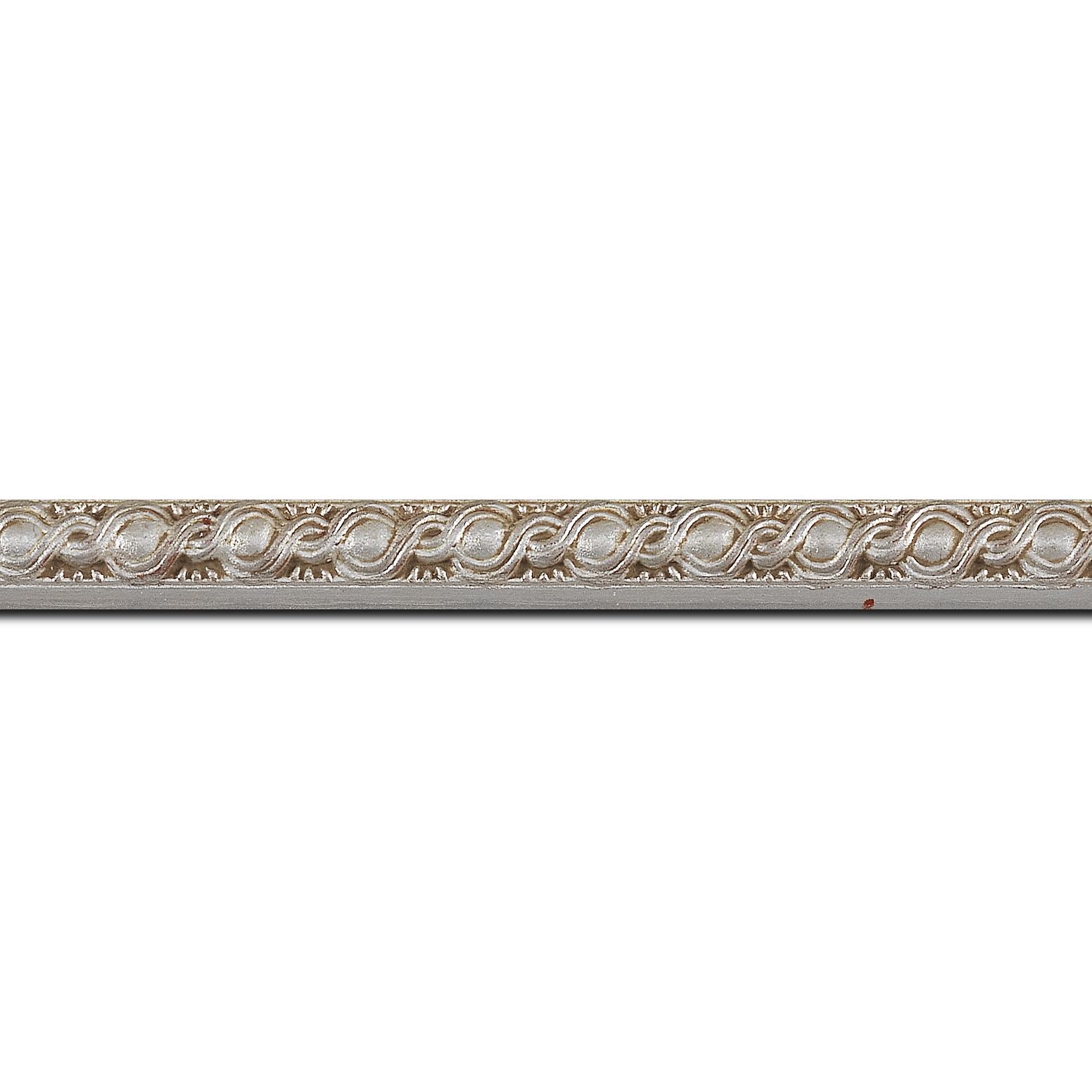 Pack par 12m, bois profil jonc largeur 1.5cm argent style décor entrelacé (longueur baguette pouvant varier entre 2.40m et 3m selon arrivage des bois)