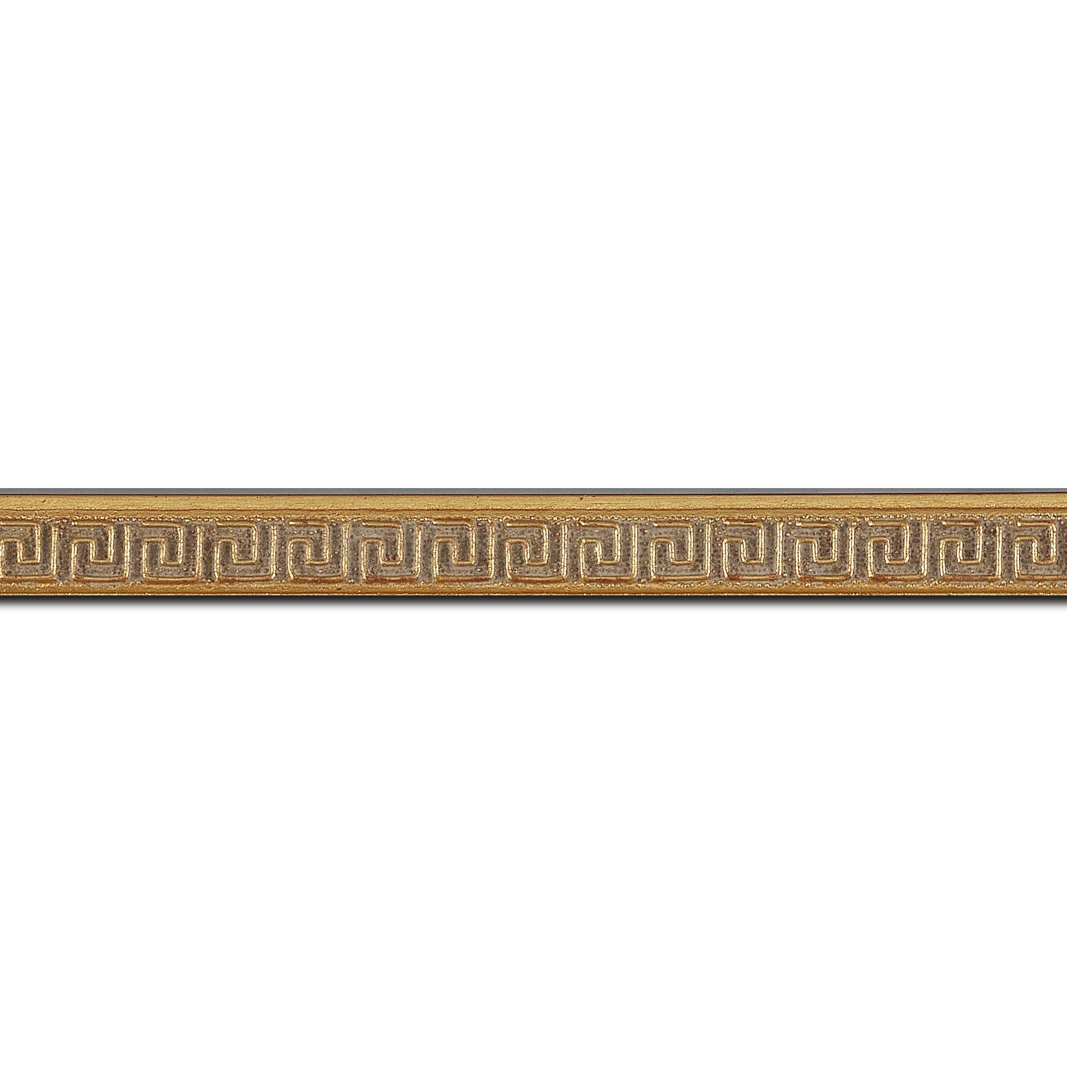 Baguette longueur 1.40m bois profil jonc largeur 1.6cm or style décor angulaire