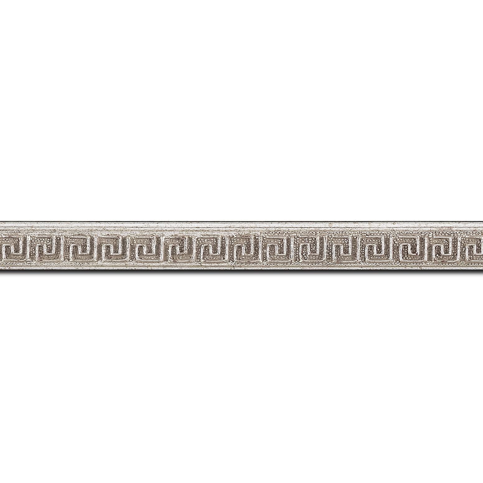 Baguette longueur 1.40m bois profil jonc largeur 1.6cm argent style décor angulaire