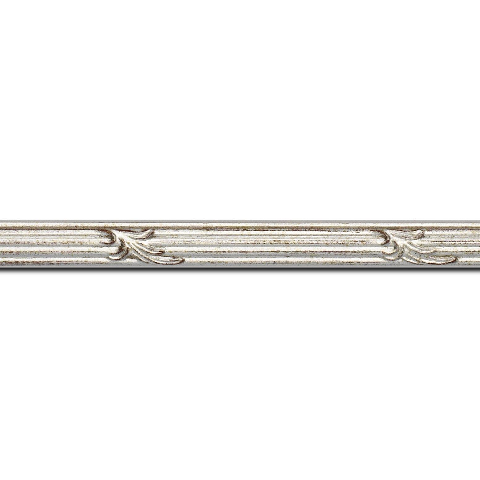 Baguette longueur 1.40m bois profil jonc largeur 1.5cm argent style décor feuille