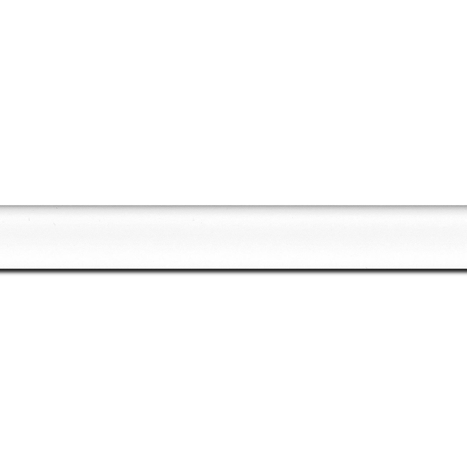 Baguette longueur 1.40m bois profil incuvé largeur 2.1cm couleur blanc mat