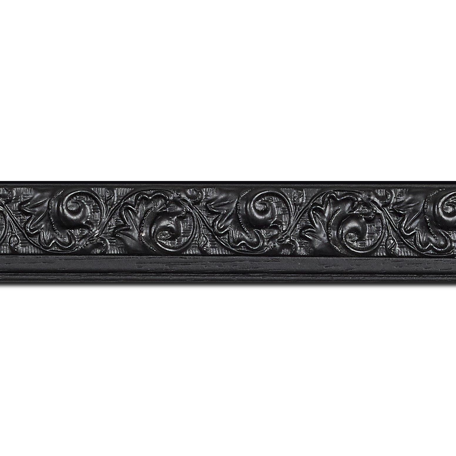 Baguette longueur 1.40m bois profil plat largeur 3.5cm couleur noir antique satiné décor frise