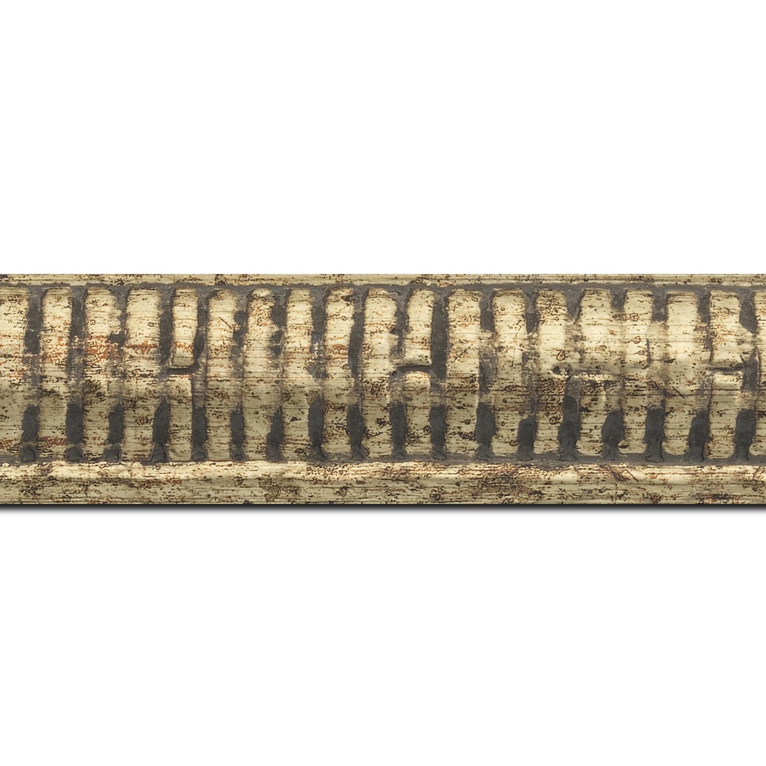 Baguette longueur 1.40m bois profil arrondi largeur 4.8cm couleur or noirci décor bambou