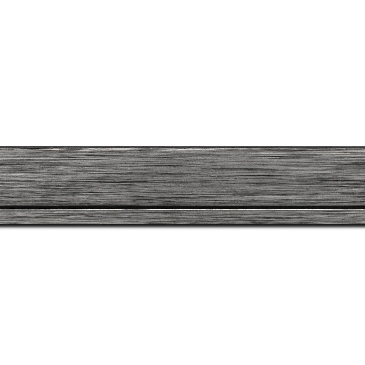 Baguette longueur 1.40m bois profil plat largeur 3.3cm couleur plomb filet plomb