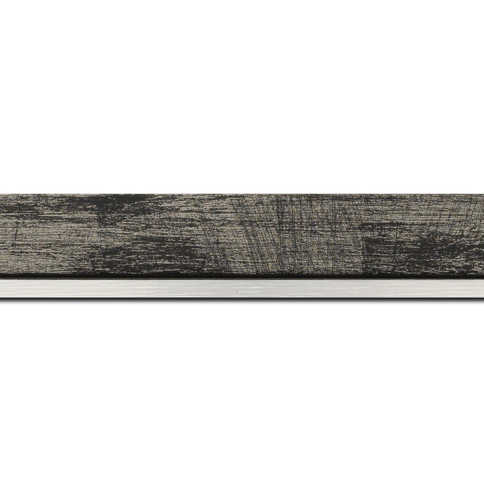 Pack par 12m, bois profil plat largeur 3.3cm couleur noir fond argent filet argent (longueur baguette pouvant varier entre 2.40m et 3m selon arrivage des bois)