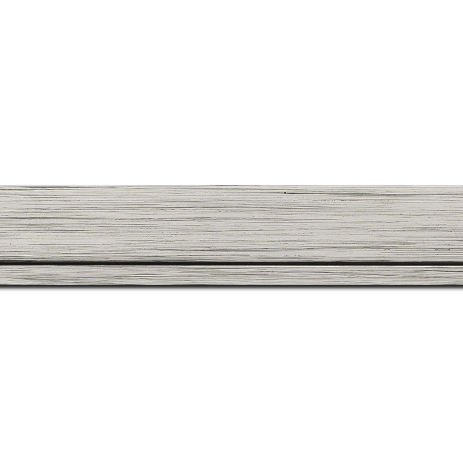 Baguette longueur 1.40m bois profil plat largeur 3.3cm couleur argent filet argent