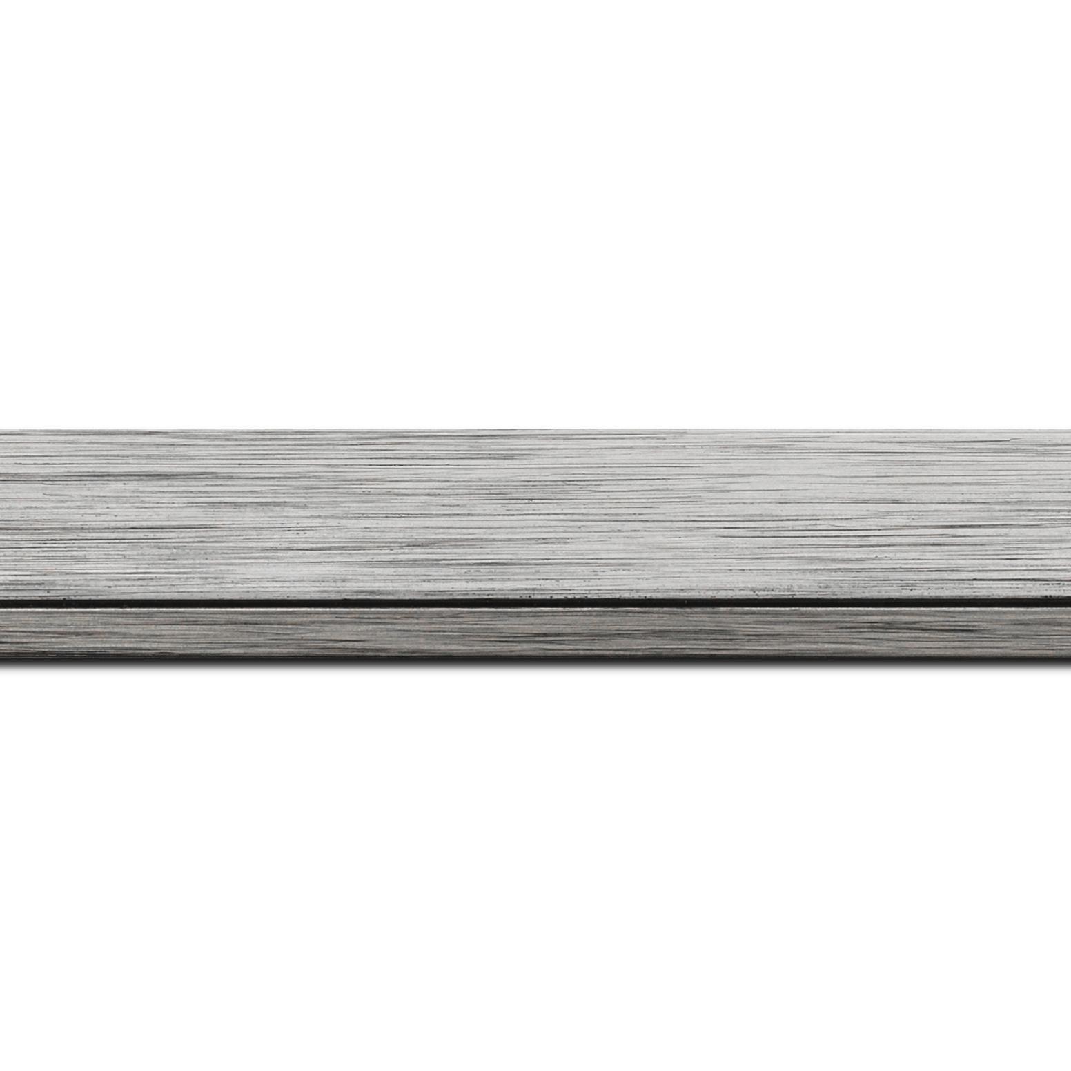 Baguette longueur 1.40m bois profil plat largeur 3.3cm couleur argent filet plomb