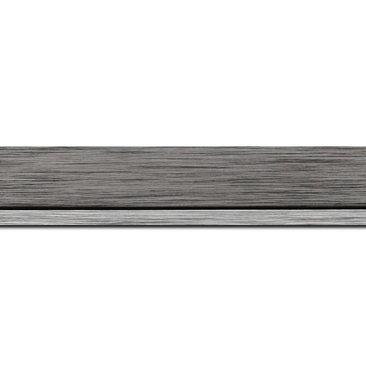 Pack par 12m, bois profil plat largeur 3.3cm couleur plomb filet argent(longueur baguette pouvant varier entre 2.40m et 3m selon arrivage des bois)