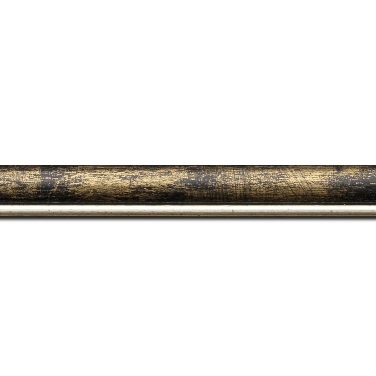 Pack par 12m, bois profil arrondi largeur 2.1cm  couleur noir fond or filet argent chaud (longueur baguette pouvant varier entre 2.40m et 3m selon arrivage des bois)