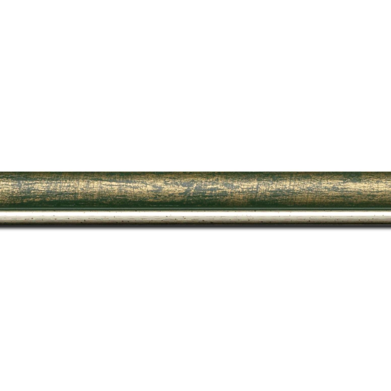 Pack par 12m, bois profil arrondi largeur 2.1cm couleur vert fond or filet argent chaud (longueur baguette pouvant varier entre 2.40m et 3m selon arrivage des bois)