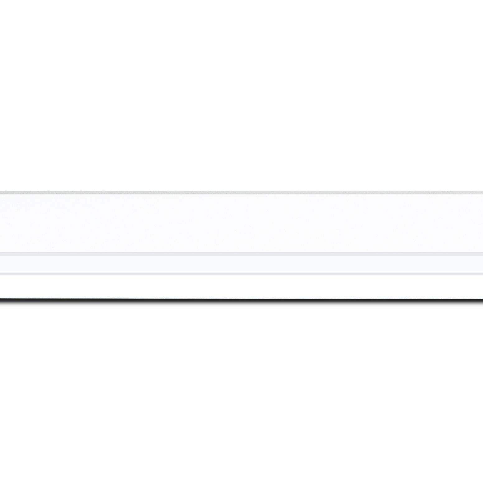 Pack par 12m, bois profil pente largeur 4.5cm de couleur blanc mat filet blanc (longueur baguette pouvant varier entre 2.40m et 3m selon arrivage des bois)