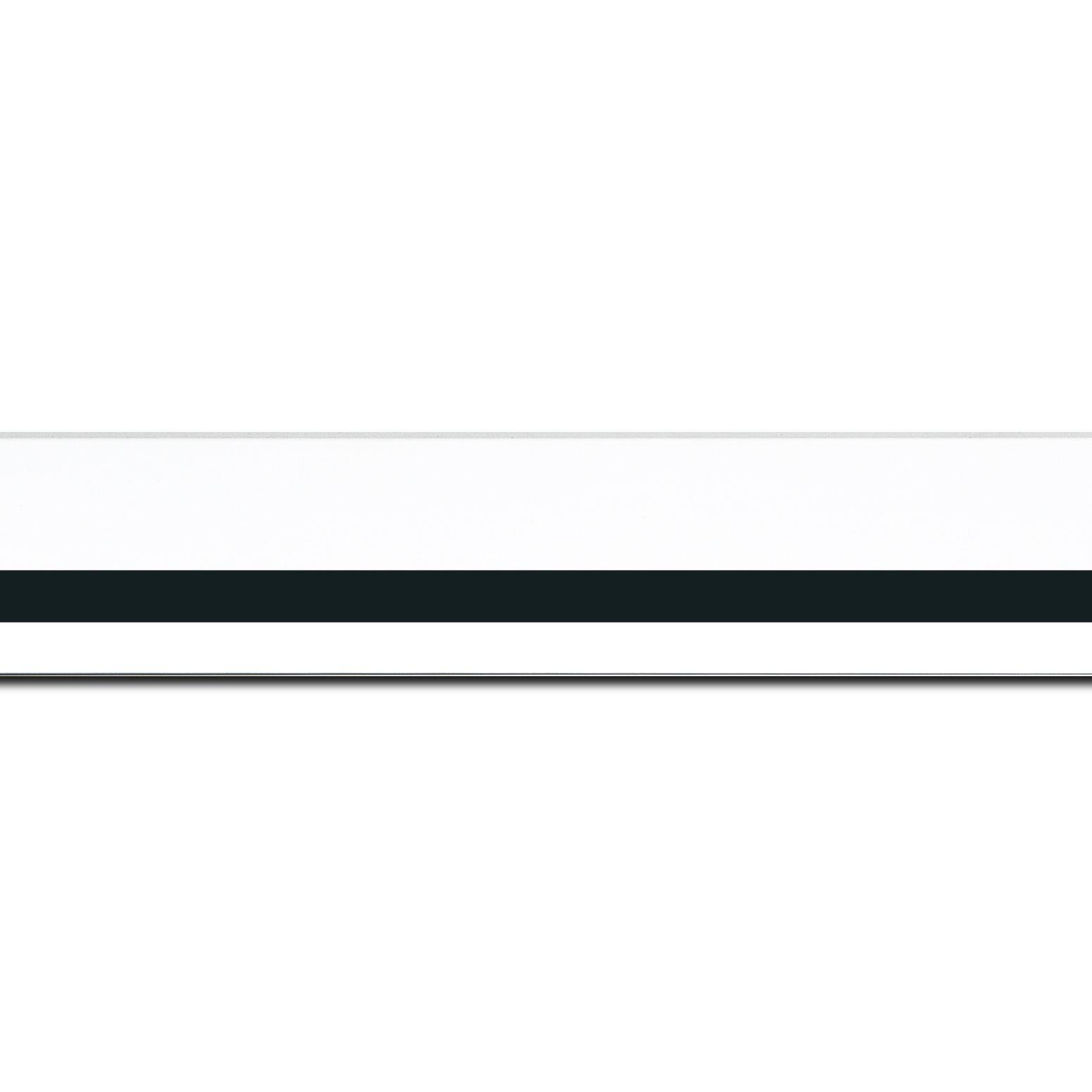 Baguette longueur 1.40m bois profil pente largeur 4.5cm de couleur blanc mat filet noir