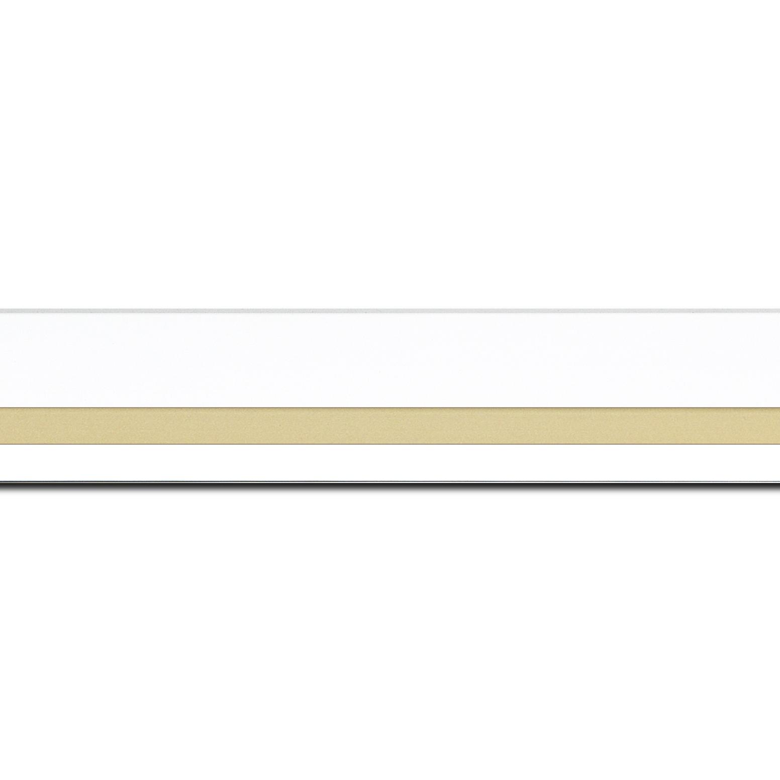 Pack par 12m, bois profil pente largeur 4.5cm de couleur blanc mat filet or (longueur baguette pouvant varier entre 2.40m et 3m selon arrivage des bois)