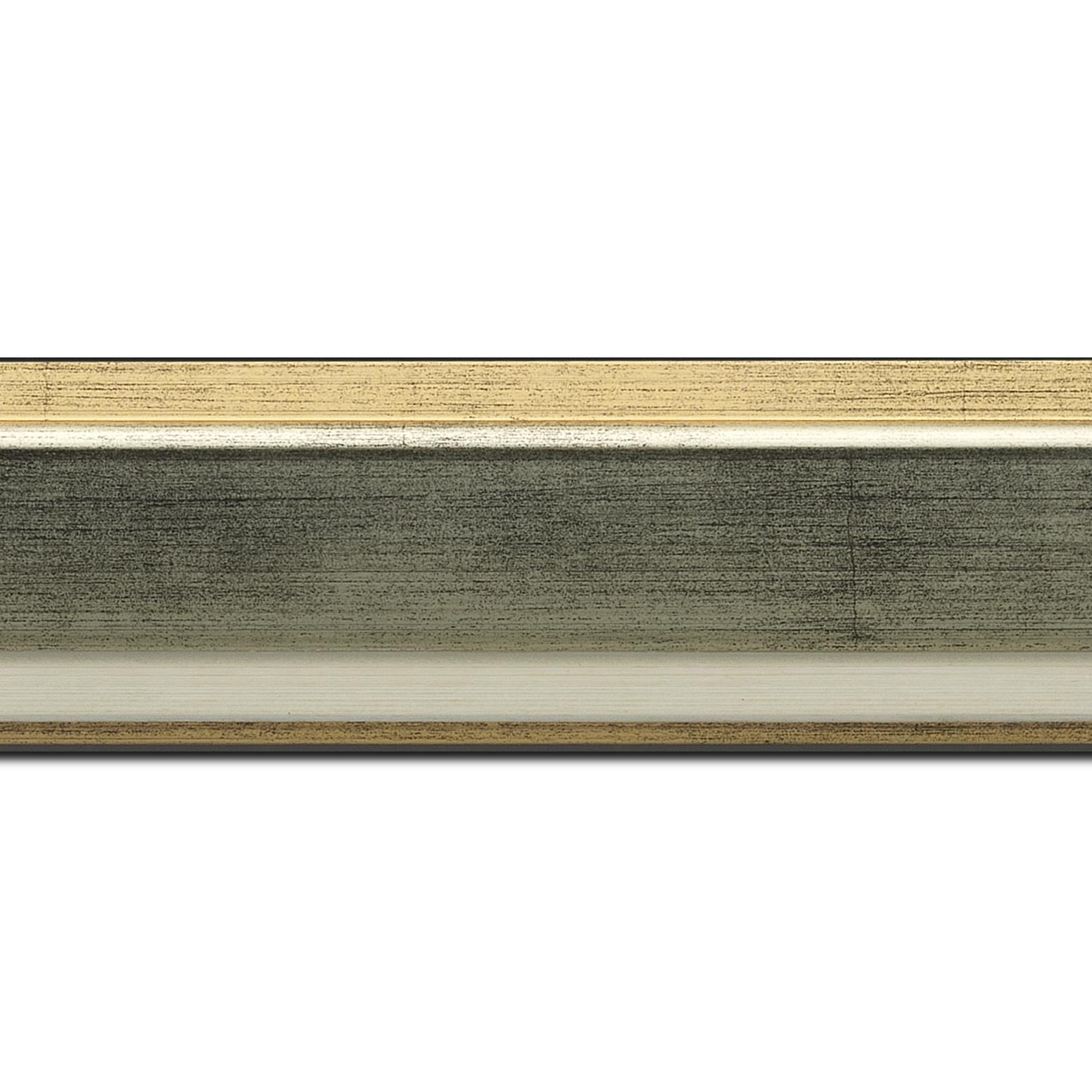 Pack par 12m, bois profil incliné largeur 5.4cm argent extérieur or marie louise crème filet or intégrée(longueur baguette pouvant varier entre 2.40m et 3m selon arrivage des bois)