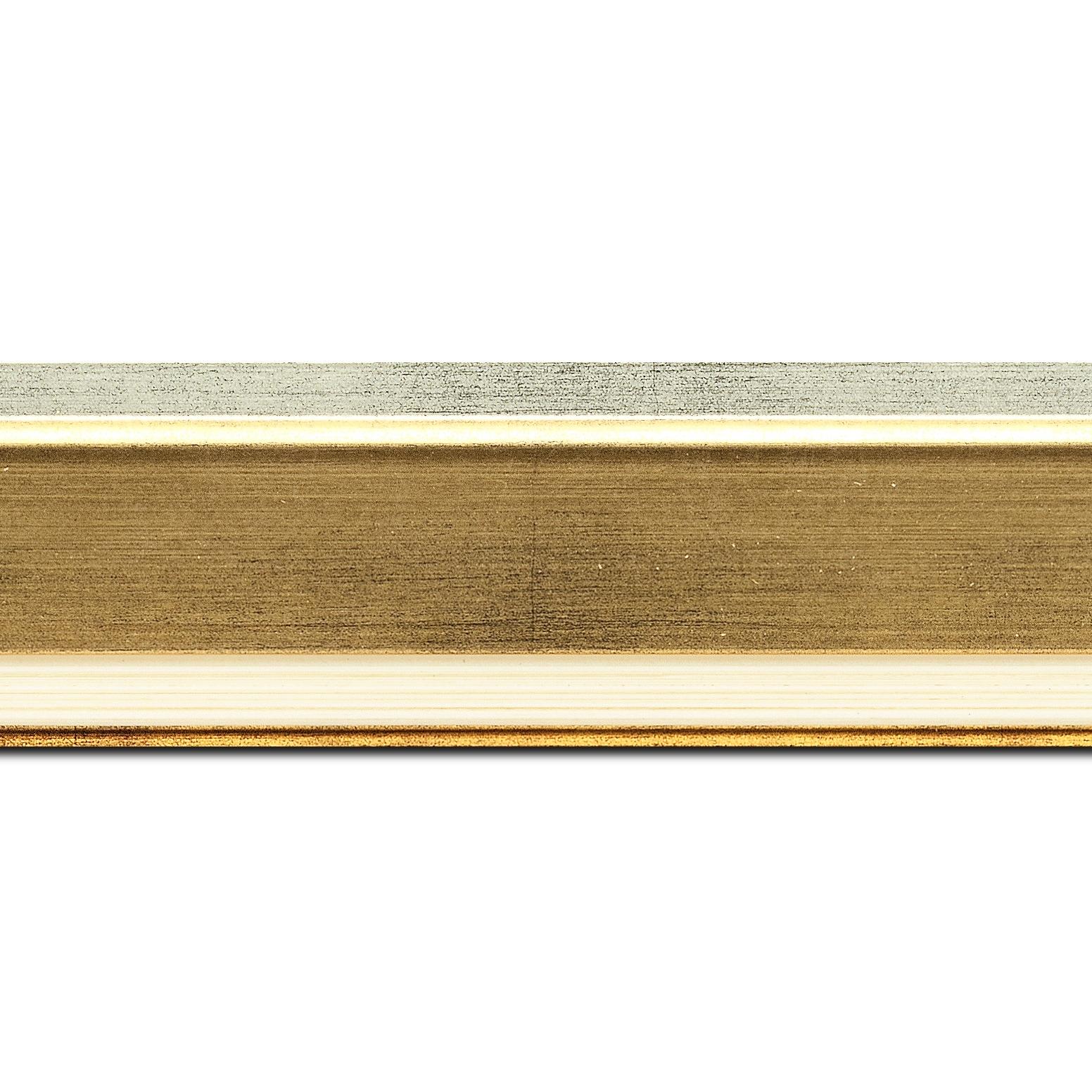 Pack par 12m, bois profil incliné largeur 5.4cm or bord extérieur argent marie louise crème filet argent intégrée(longueur baguette pouvant varier entre 2.40m et 3m selon arrivage des bois)