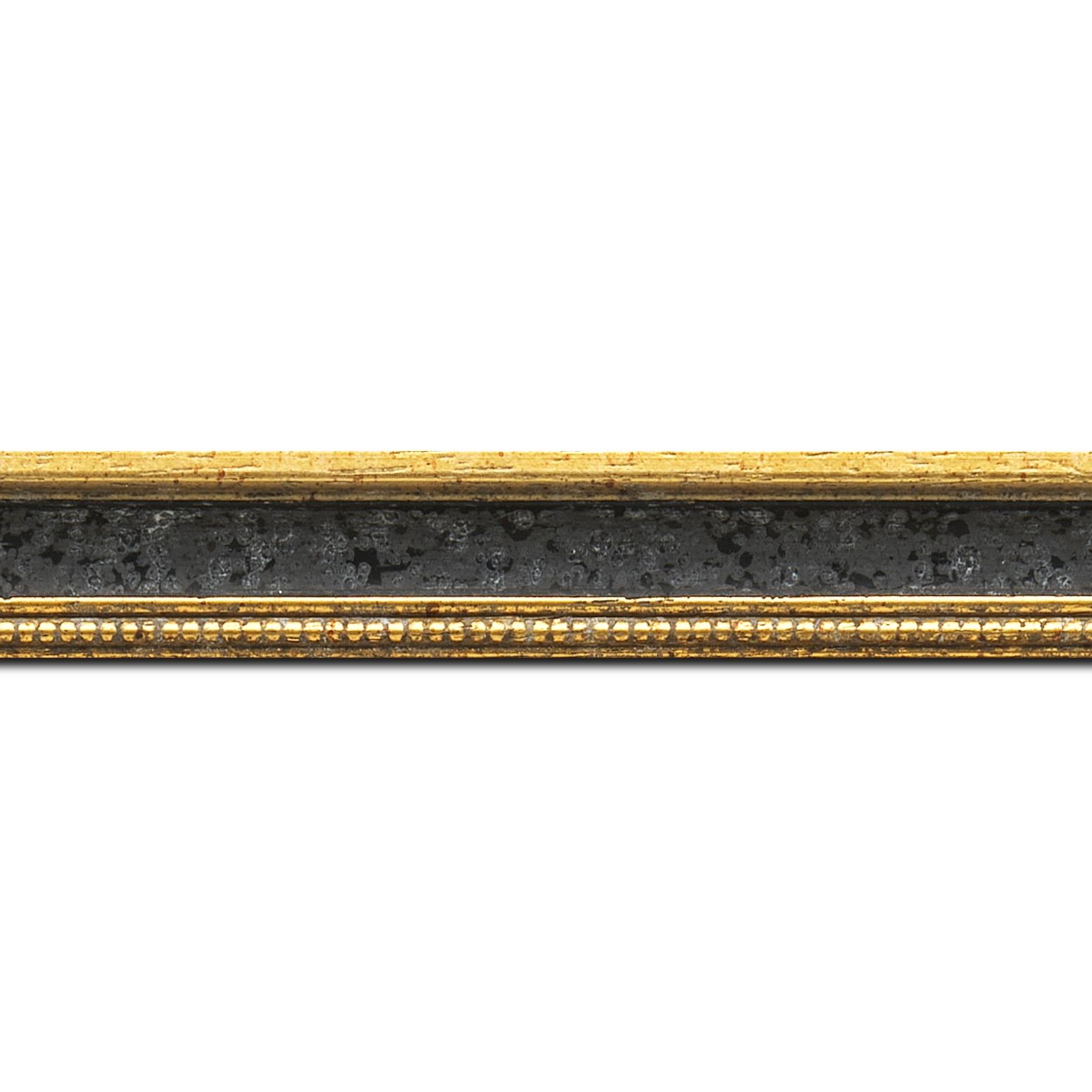 Pack par 12m, bois profil incuvé largeur 2.4cm or antique gorge noir filet perle or (longueur baguette pouvant varier entre 2.40m et 3m selon arrivage des bois)