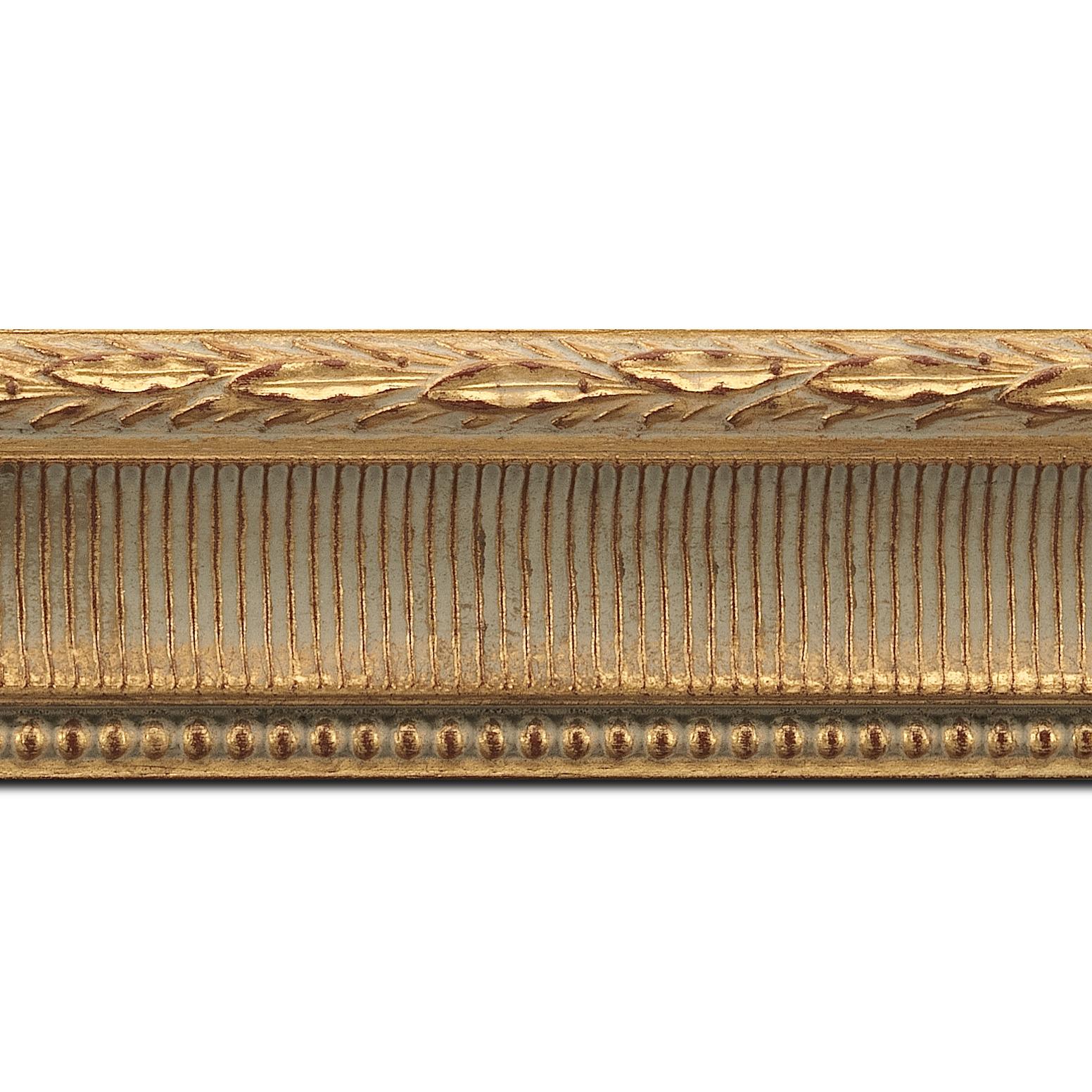 Pack par 12m, bois profil incurvé largeur 6cm or antique empire à canaux (longueur baguette pouvant varier entre 2.40m et 3m selon arrivage des bois)